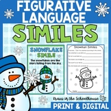Similes - Figurative Language Writing Activities Winter Themed