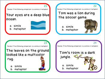 Similes and Metaphors  -  24 Task Cards