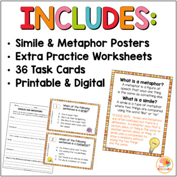 Similes and Metaphors Task Cards and Activities