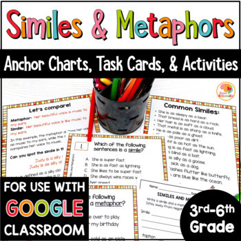 Similes and Metaphors Activities and Task Cards