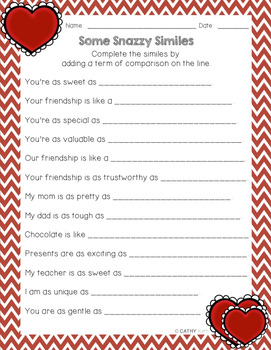 Similes and Metaphors, Craftivities, 24 Task Cards, Valentine's Day