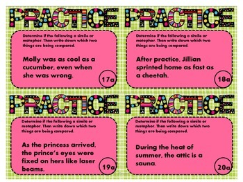 Similes and Metaphors - Differentiated Task Cards and Practice