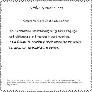 Similes and Metaphors Figurative Language Black and White Print Version No Prep