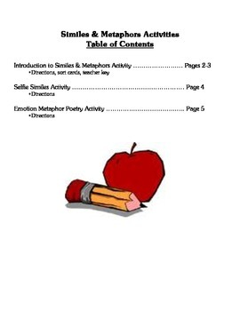 Similes and Metaphors Lesson Activities - Figurative Language