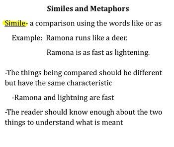 Similes and Metaphors SMART Notebook Presentation smart board