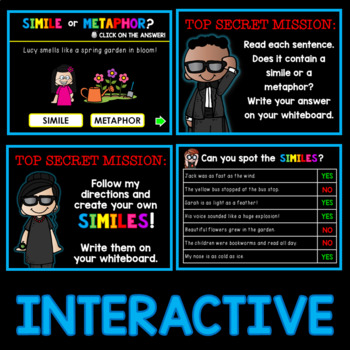 Similes and Metaphors PowerPoint and Worksheets Figurative Language