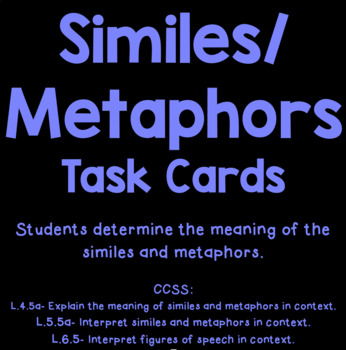 Similes and Metaphors Task Cards