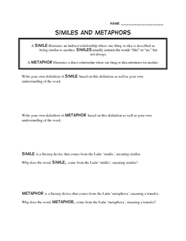 Writing Metaphors Worksheet Part 1 Beginner | English Language ...