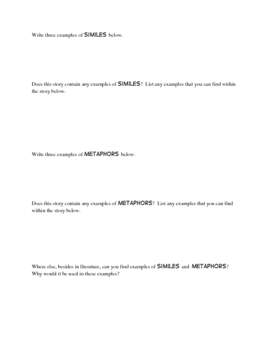 Similes and Metaphors: Worksheets to use with ANY book!