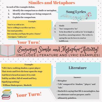 Similes and Metaphors in Literature and Lyrics