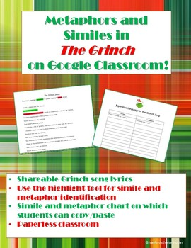 Similes and Metaphors in The Grinch Paperless Google Classroom