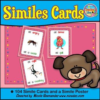Figurative Language - Similes IIllustrated Word Cards