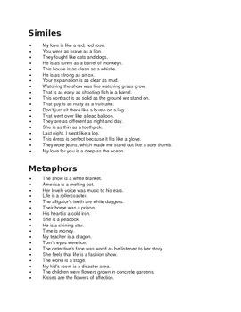 Similes vs metaphors examples
