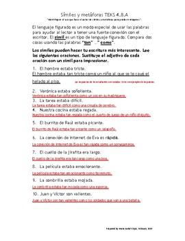 """Símiles y metáforas con """"answer key"""" (TEKS 4.8.A)"""