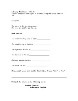 Similie Intro/Review Worksheet