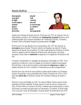 Simón Bolívar Biografía - Spanish Reading about Simon Bolivar + Video Link