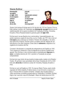 Simón Bolívar Biografía - Spanish Biography + Worksheet