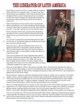 Simon Bolivar Reading, Worksheet, and Graphic Organizer