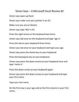 Simon Says – A Microsoft Excel Game