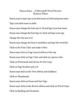 Simon Says – A Microsoft Word Review Game