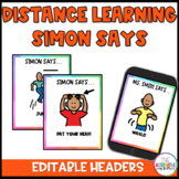 Simon Says Action Cards and Slides: Distance Learning with