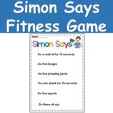 Simon Says Fitness Game - Simon Says Action Cards - PE - B