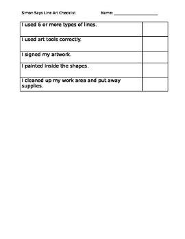 Simon Says Line Checklist for Assessment