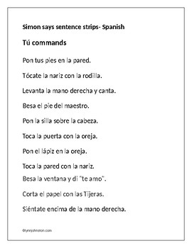 Simon Says Sentence Strips Spanish