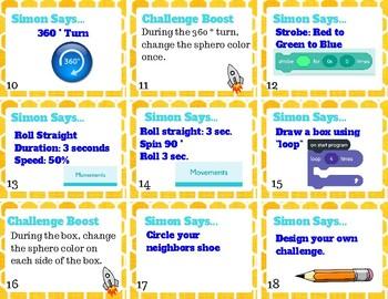 Simon Says Sphero Challenge Card Set