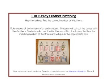 Simple 1-10 Turkey feather matching