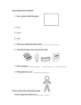 Simple 20-question following directions worksheet #1