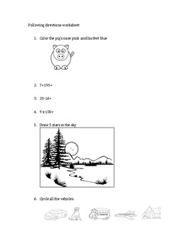 Simple 20-question following directions worksheet #4