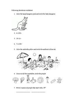 Simple 20-question following directions worksheet #6