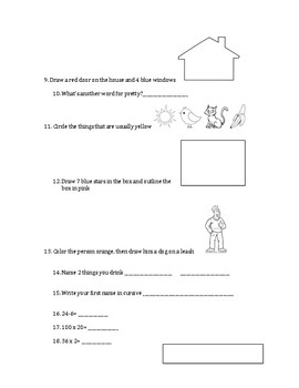 Simple 20-question following directions worksheet #7