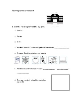 Simple 20-question following directions worksheet #8