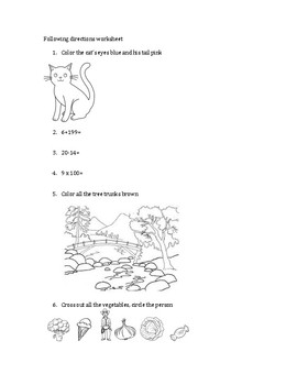 Simple 20-question following directions worksheet #9