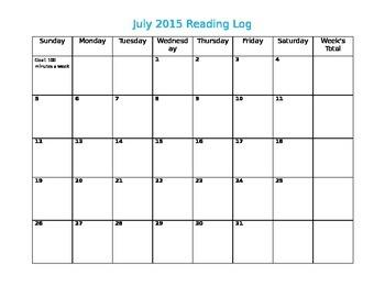 Simple 2015 Editable Summer Calendar Reading Log