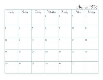 Simple 2018/2019 Calendar