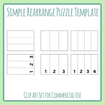 Simple 3 and 4 Strip Rearrange Puzzle Generating Layout / Template Clip Art