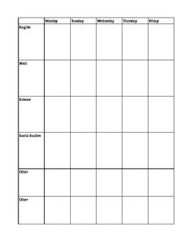 Simple 5 Day Homeschool Planner