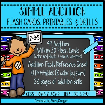 Addition Flash Cards, Printables, & Drills