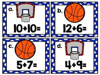 """Simple Addition Math Centers for First and Second Grade """"On The Court"""""""