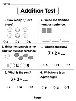 Simple Addition Assessment / Test
