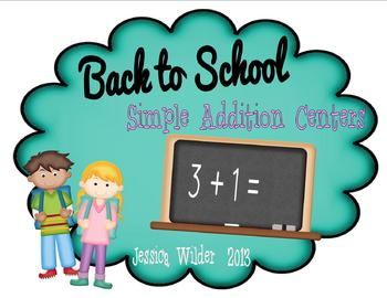 Simple Addition Centers for the Beginning of the School Year!
