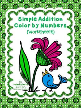 Simple Addition Color by Numbers (worksheets)