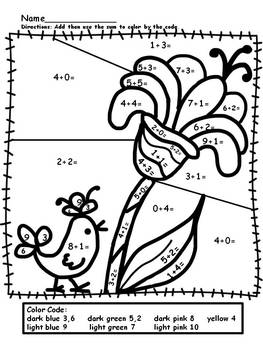 basic addition coloring pages | Simple Addition Color by Numbers (worksheets) by Mollie ...