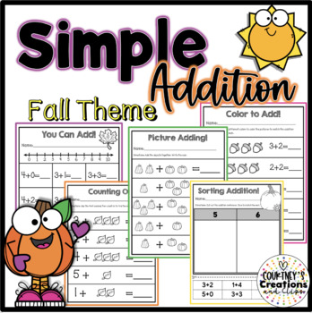 Simple Addition {Fall Theme} Practice Worksheets [Freebie]