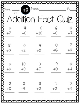 Simple Addition Math Fact Quizzes