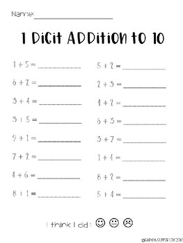 Simple Addition Printables