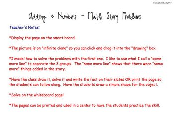 Simple Addition Story Problems for Adding 3 Numbers SmartBoard Lesson
